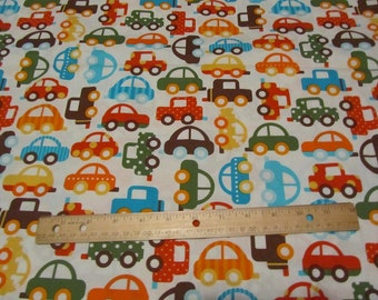 White with Multicolored Cars Cotton Fabric by the Yard