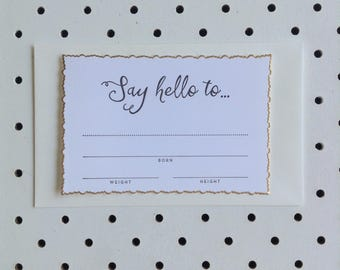 Fill-in Birth Announcement - Set of 5 'Say hello to'