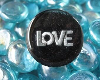 "RING fantasy ""LOVE"" on black resin"