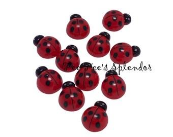 5 / 10 pc - Lady bug cabochon resin - Ladybug flatback resin * embellishment