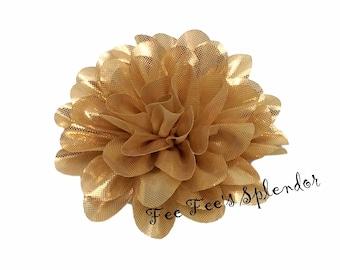 """Gold Scalloped Flower- Gold metallic chiffon - 4"""" Layered Shiny Gold flower"""