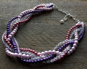 Purple Pink Pearl Statement Necklace, Crystal Multi Strand Wedding Necklace, Chunky Braided Necklace on Silver Chain