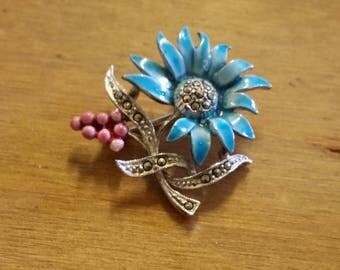 Vintage Enamel and Marcasite Flower Brooch