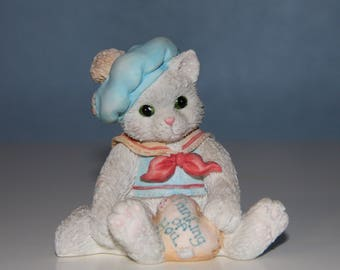 Calico Kittens Thinking of You Figurine - Collectible -1993 Enesco Corporation Priscilla Hillman - Cat Kitten Home Decor - Gift Idea