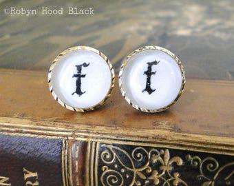 Letter F earrings - Vintage Stamped Letterpress Letters in Vintage Goldtone Posts - Olde English, Gothic