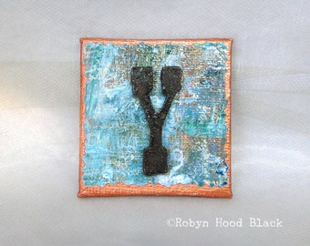 Rustic Letter Y and Painted Verdigris Magnet 2 X 2