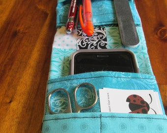 Patchwork Nurse Pocket Organizer,  Turquoise Pocket Organizer