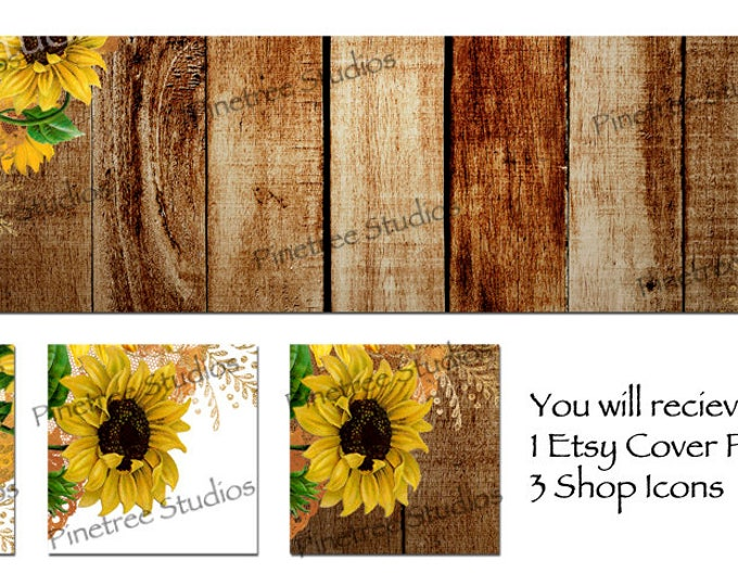 Etsy Cover Photo Banner (for Pattern Website too) and 3 Shop Icons ~ Sunflowers and Wood