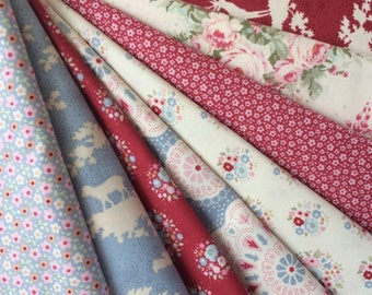 Tilda Sweetheart Fabric Bundle - 8 pieces of Fat quarter ( 50 cm x 55 cm ) ( 19.68 inches x 21.65 inches )