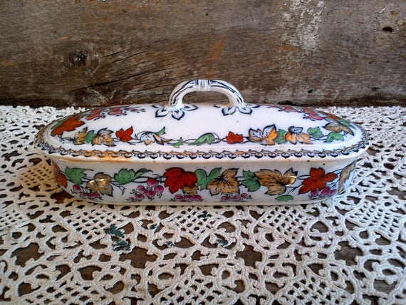 English Transferware Polychrome Razor Box ~ 1800s
