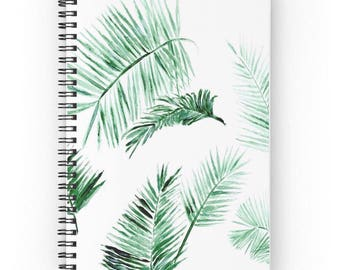 Palm Leaf Notebook, minimalist notebook, tropical notebook, botanical notebook, modern notebook, spiral notebook, palm leaf journal