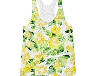 Floral Tank Top, yellow floral shirt, yellow floral top, flower tank top, yellow tank top