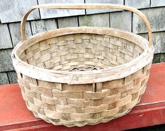 Garden Harvest Basket Maine Potato Gathering Basket Oak Splint Basket