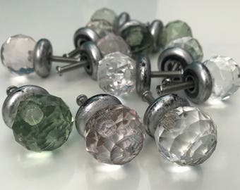 12 Acrylic Pulls/Knobs, Light Pink, Green, Clear- 4 Each, Furniture Cabinet/Drawer Pulls Hardware