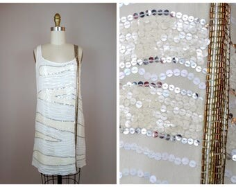 White Silver & Gold Beaded Sequined Dress // Vintage Inspired Beaded Sequin Dress - AS IS !!!