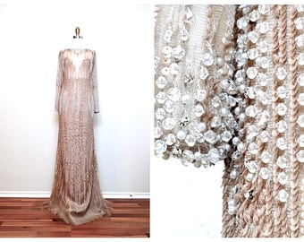 Vintage Glam Beaded Gown / Champagne Sequin Wedding Dress / Sheer Nude Sequined Gown
