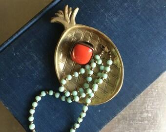vintage brass pineapple dish small ring holder trinket dish