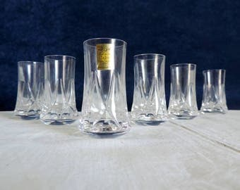 Bayel Cristalleries Royale de Champagne, vintage french, boxed shot or liqueur glasses