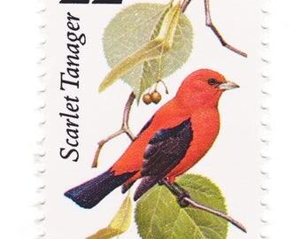 Unused 1987 Scarlet Tanager - North American Wildlife - Vintage Postage Stamps Number 2306