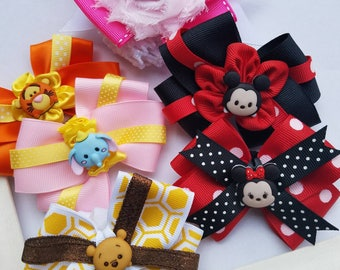 Tsum Tsum inspired hair bow set of 6