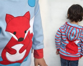 Toddler boy fox hoodie,spring fashion,kids fox sweater,kids spring,boy toddler,toddler boy clothes,fox baby boy,reversible,blue/stripes