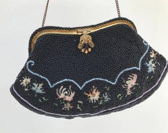 Vintage Black Floral Micro Beaded Beaded Bag, France 1940's, Point de Beauvais, Bridal Purse, Vintage Beaded Evening Bag