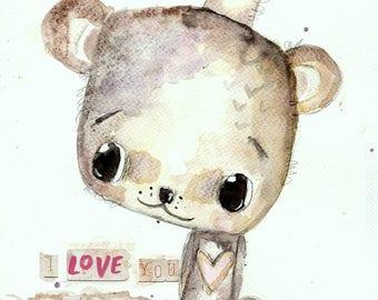 Beary Much- watercolour painting, teddy bear painting, nursery art, gift, wall art, original watercolor, children's room decor, animal art