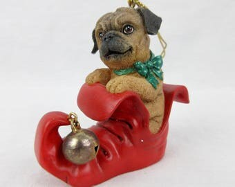 Vintage Pug Christmas Tree Ornament / Pug Puppy in Elf Slipper / Cast Resin / Jingle Bell / Danbury Mint Pugs and Kisses