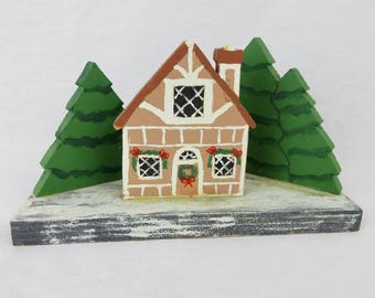 Vintage Swiss Chalet / Cabin in the Woods / Handmade, Hand Painted / Christmas Decor / Folk Art / Rustic, Primitive Wooden House and Trees