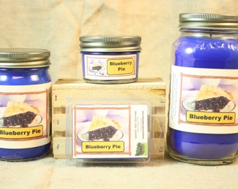 Blueberry Pie Scented Candle, Blueberry Pie Scented Wax Tarts, 26 oz, 12 oz, 4 oz Jar Candles or 3.5 Clam Shell Wax Melts