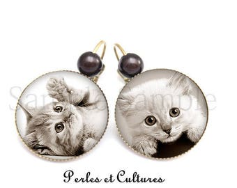 Black White grey cat kitten cabochon earrings
