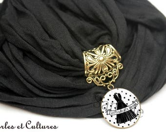 Scarf jewelry noirღ My little black dress the LBD cabochon