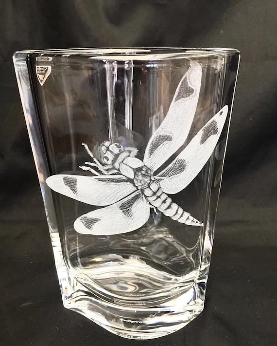 Hand Engraved Dragonfly crystal  Vase, Orrefors, Vase, Dragonflies, crystal floral vase, Homedecor