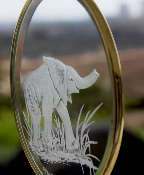 Crystal Elephant Ornament, Elephant Gifts, Engraved Ornaments, Glass Engraved Gifts, custom ornaments