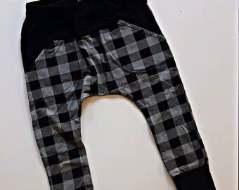 Grey plaid pocket harem pants//Harem pants size 3/4