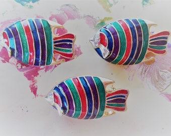 Vintage Sparkle Rainbow Fish Pin Brooch