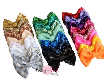 """X-Large 5"""" SEQUIN Bows NEW- You Choose Quantity and Colors - Bow...Sequin Bow Headband...Large Bows...Bows...Wholesale...Big Bow..Sequin Bow"""