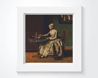 Lady Pouring Chocolate Cross Stitch, Embroidery Kit, Art Cross Stitch, Woman Cross Stitch, Jean Etienne Liotard (LIOTA02)