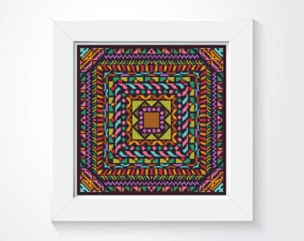Mandala Cross Stitch Kit, Harmony Cross Stitch, Embroidery Kit, Art Cross Stitch (ART037)