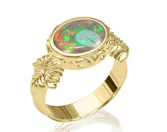 10x8mm Top-Quality Australian Black Opal Ring in 14K or 18K Gold 1.75TCW Sku: R2243
