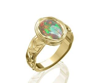 10x8mm Genuine Bezel Australian Black Opal Ring in 14K or 18K Gold 1.75TCW Sku: R2289