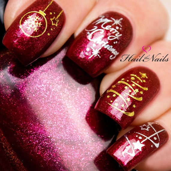 Gold Silver Christmas Nail Art Water Transfers Merry