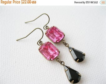 SALE Hot Pink and Black Earrings, Rhinestone Dangles, Hollywood Glam, Antique Brass, Vintage Style, Fuchsia