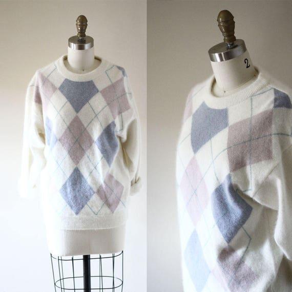 1980s argyle sweater// vintage prep sweater // vintage womens