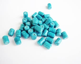 10 China reconsituee 7x5mm turquoise powder stone