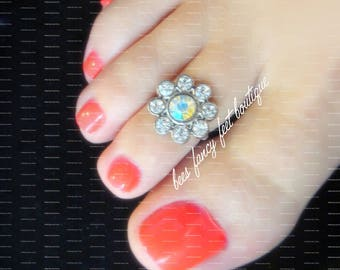 Toe Ring | Glass | Silver Flower | Stretch Bead Toe Ring