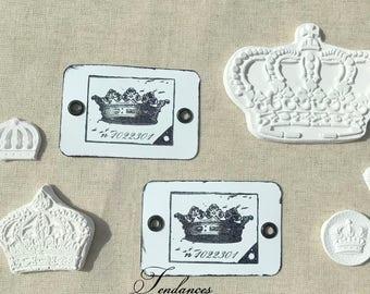 2 Etiquettes metal rectangulaire ancien tampon couronne 7 x 4,5 cm