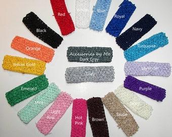 Baby Headband, 1.5 inch Crochet Bands, Baby Flower Headbands, Girls Korker Bow Headbands, Choose a Color Band, Craft Supplies, Bow Maker
