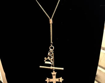 Antique Watch Fob Necklace Gold Filled Cross Ink Seal T Bar