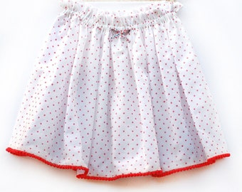 Summer skirt pink PomPoms 3 to 12 years